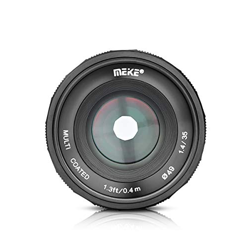 MEKE MK-35mm F/1.4 Manual Focus Large Aperture Lens Compatible with Sony APS-C Mirrorless Camera Such as A6000 A6300 A6500